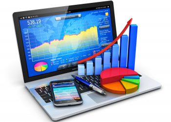 Mobile office, stock exchange market trading, statistics accounting, financial development and banking business concept: modern laptop or notebook computer PC with stock market application software, growth bar chart, pie diagram, ballpoint pen and touchscreen smartphone isolated on white background