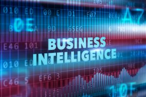 Business intelligence technology illustration concept blue text